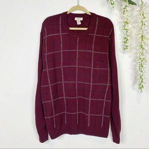 1149 MENS DOCKERS plaid sweater burgundy/maroon